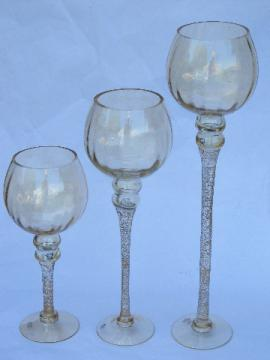 Huge tall stemmed glasses trio, gold fleck blown glass candle holders