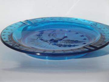 Huge vintage blue glass ashtray, L E Smith glass  Federal eagle ashtray