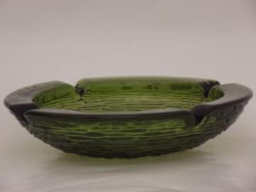 Huge vintage glass ashtray, retro green Soreno crinkle glass ash tray