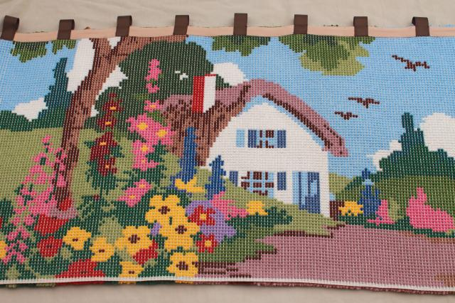 huge vintage latch hook yarn shag rug wall hanging, tiny house w/ cottage garden