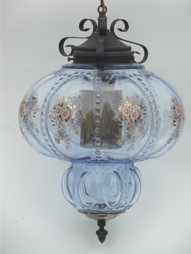 Huge Vintage Swag Lamp Hanging Light W Ice Blue Glass