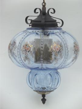 Huge vintage swag lamp hanging light w/  ice blue glass globe shade
