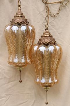 huge vintage swag lamps w/ curvy iridescent glass shades, lantern light pendants pair