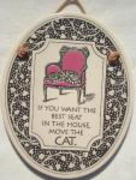 If You Want The Best Seat In The House - Cat pottery tile wall hanging
