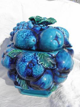 Inarco - Japan blue fruit, large kitchen canister jar, retro 60s-70s vintage