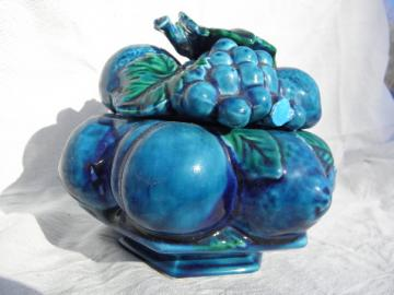 Inarco - Japan blue fruit, small kitchen canister jar, retro 60s-70s vintage