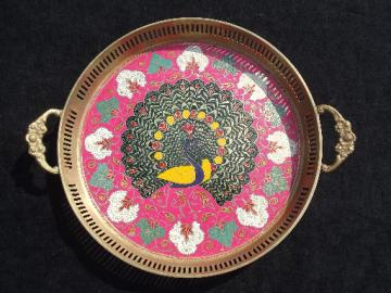 Indian peacock design,  enamel painted solid brass tray, vintage India