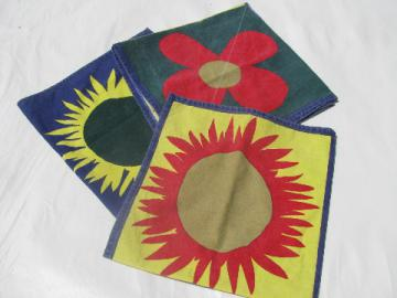 Indian print cotton kitchen linens dish towels, retro mod bright sunflowers