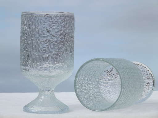Indiana Crystal Ice Textured Glass Drinking Glasses Water