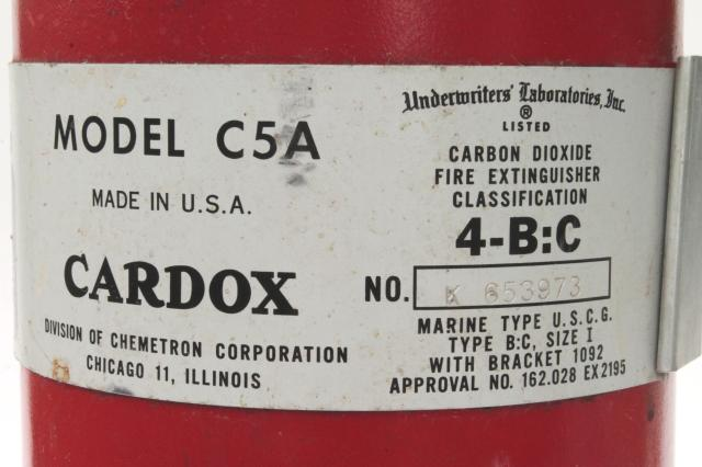 industrial vintage Kidde Cardox C5A Co2 fire extinguisher mid century factory