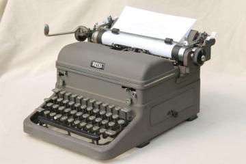 industrial vintage manual typewriter Royal typewriter w/ round glass keys