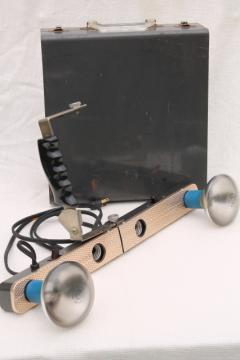 industrial vintage photography light, portable 4 socket light bar w/ metal box carrying case