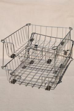 industrial vintage wire basket office desk paper in out stacking trays