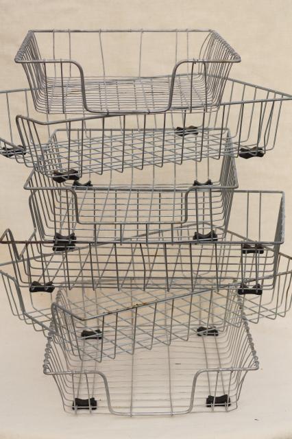 industrial vintage wire basket office storage desk paper in out ...