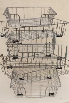 industrial vintage wire basket office storage desk paper in out stacking trays