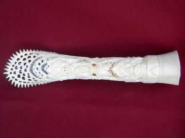 Intricate oriental ox bone carving w/carved asian dragons and women