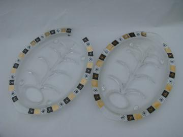 Island glass, retro mod buffet meat platters
