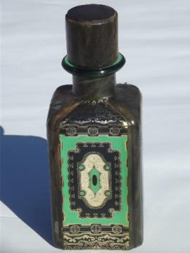 Italian leather decanter bottle, 60s 70s vintage Italy tooled leather covered
