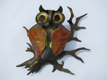 Jere era 70s vintage art metal wall sculpture, owl on tree branch