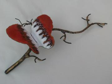 Jere vintage wrought metal wall art sculpture, branch w/ enamel butterfly