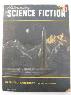 July '48 Astounding Science Fiction magazine, sci-fi rocket ship cover art