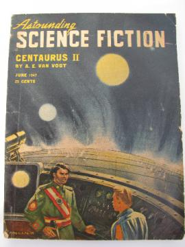 June 1947 sci-fi magazine Astounding Science Fiction, pulp cover art