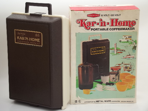 Portable Coffee Maker For Work : Kar n Home portable coffee maker, vintage car / camping coffee pot set