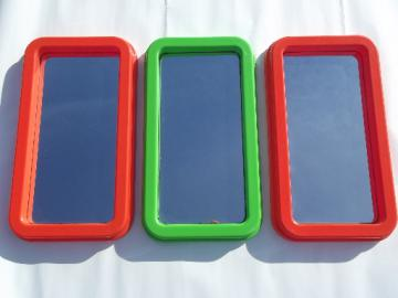 Kartell vintage 70s Italian design plastic mirrors, retro orange & lime