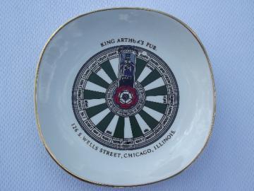King Arthur's Pub - Chicago, vintage china ashtray made in England