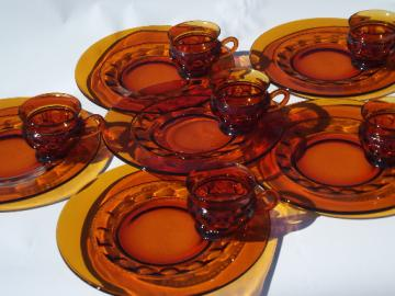 King's Crown thumbprint pattern vintage amber glass snack sets