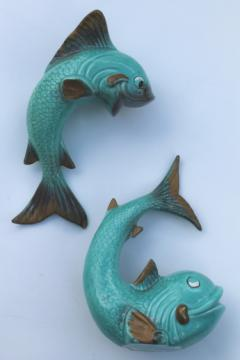 Kitschy retro ceramic fish wall pocket planters, mid-century vintage