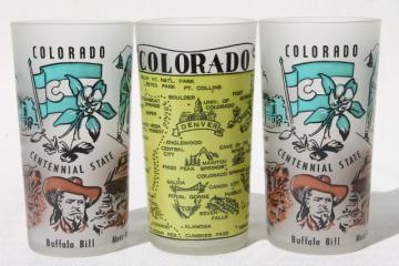 kitschy vintage souvenir drinking glasses, Colorado map collectible glass tumblers