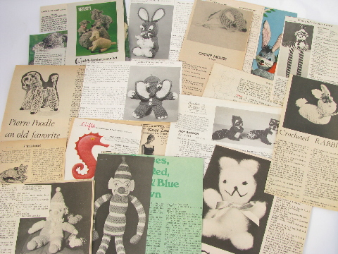 Knit and crochet retro vintage needlework patterns, knitted toys, animals