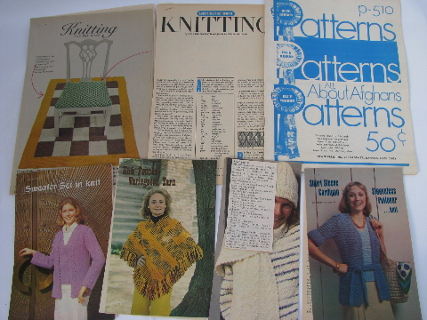 Knit and crochet retro vintage needlework patterns, old magazine clippings