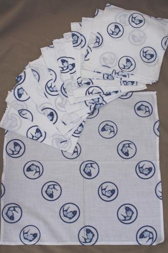 Koi fish print cotton fabric napkins vintage indigo blue for Koi fish print fabric