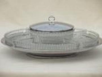 Kromex style chrome & glass lazy susan relish set, mid-century modern