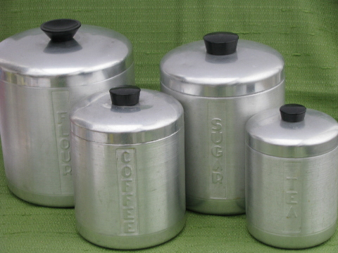 Great Kromex Vintage Spun Aluminum Canister Jar Set, Vintage Kitchen Canisters