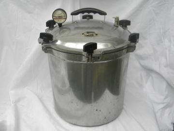 Large 24 quart All-American aluminum pressure cooker canner w/wire racks