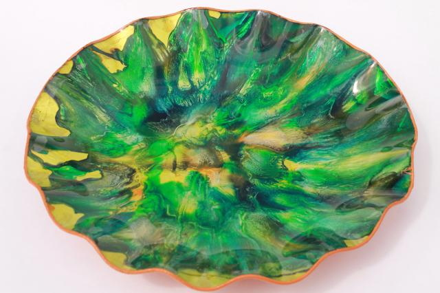 large Seetusee style vintage marbled art glass / leather bowl, 60s retro!
