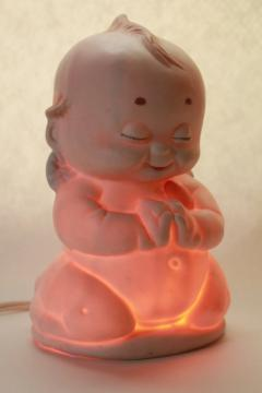 large bisque china kewpie baby angel lamp, 1980s vintage nursery night light