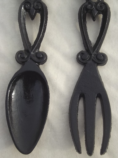 Large black iron spoon & fork wall art, vintage Decorama cast iron ...