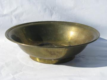 Large brass bowl w/ chinese characters, retro vintage asian modern zen