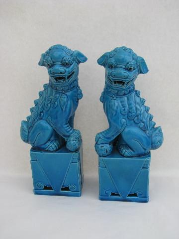 Large Ceramic Chinese Fu Dogs Dragons Statues W Aqua