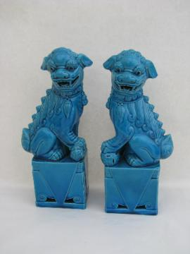 Large ceramic Chinese fu dogs dragons statues w/ aqua glaze, vintage Japan