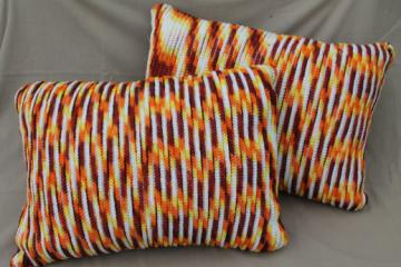 Large crocheted pillows in retro harvest colors, for daybed or 70s vintage couch