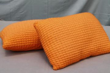 Large crocheted pillows in retro harvest gold, for daybed or 70s vintage couch