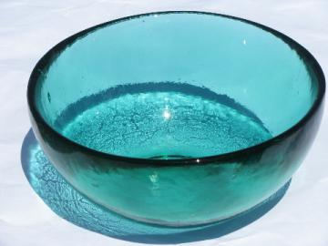 Large heavy handmade art glass bowl, retro vintage aqua blue color