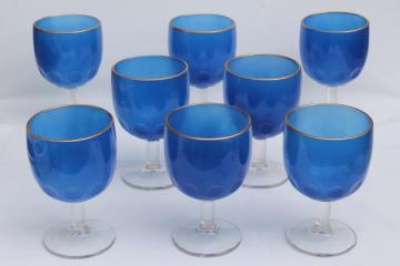Large Hoffman House style glass goblets, vintage water wine glasses cobalt blue color w/ gold band