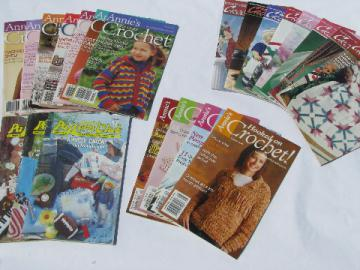 Large lot Annie's crochet pattern magazines, crocheting patterns