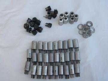 Large lot assorted vintage vacuum tube covers,sockets bases etc